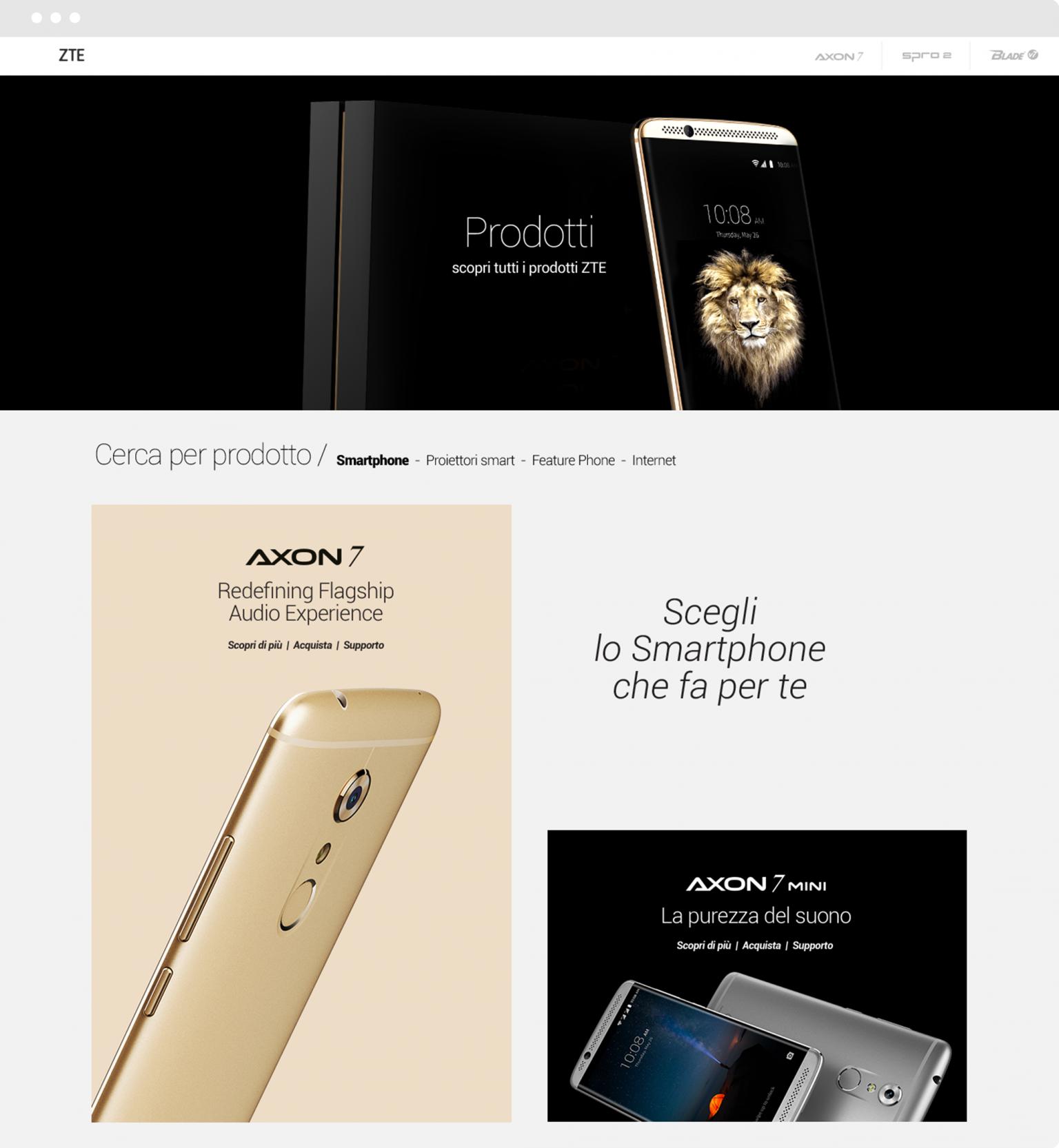 sito web smartphone selezione prodotti