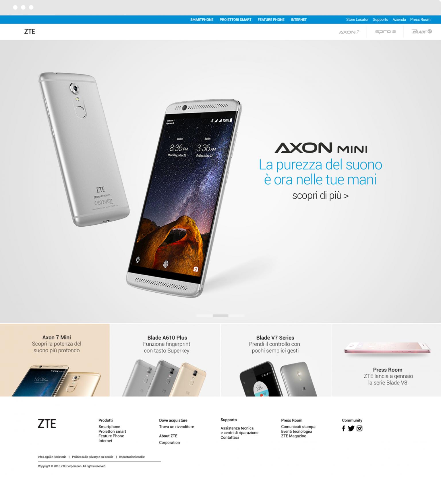 home page sito web smartphone