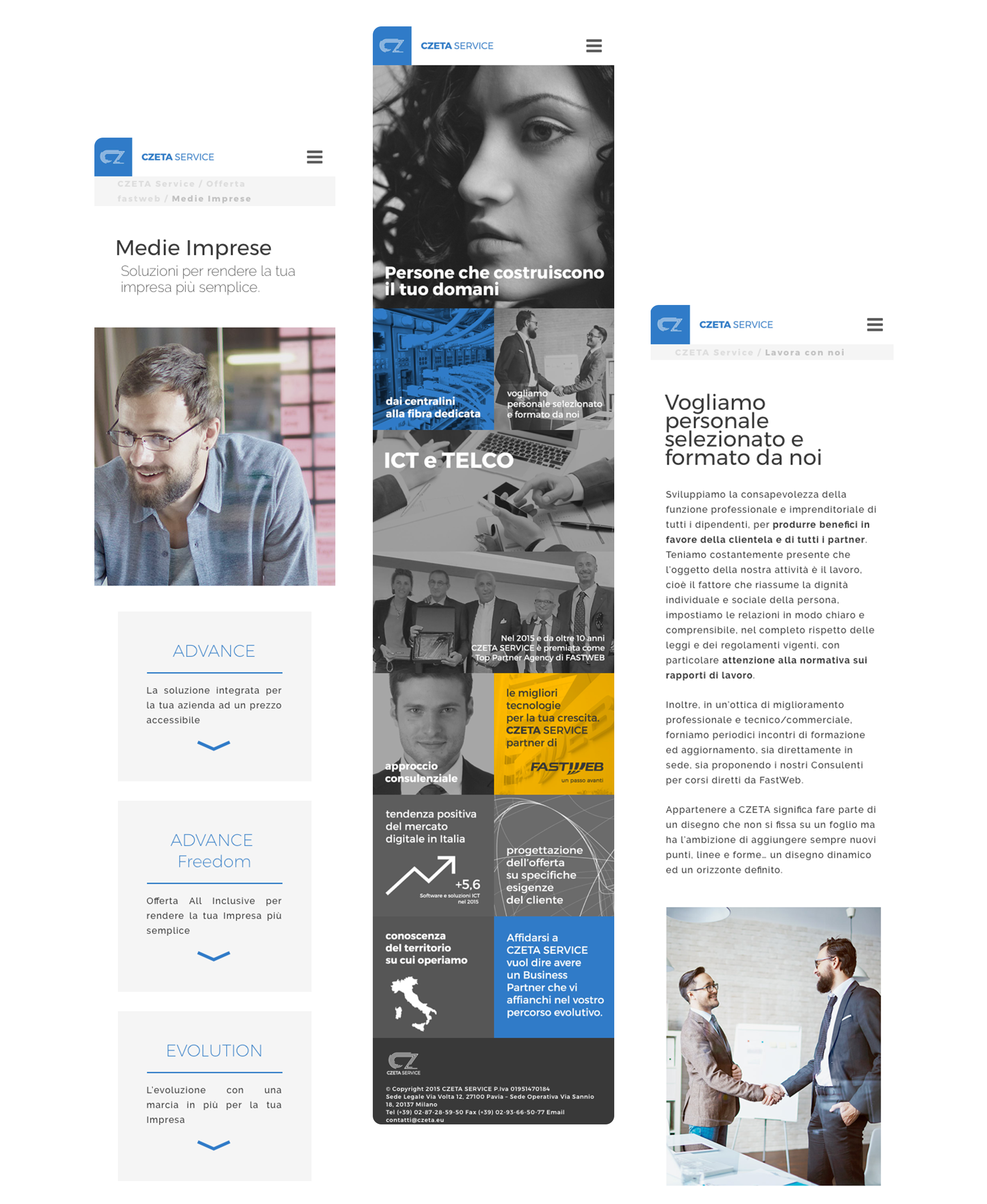 pagine sito web mobile